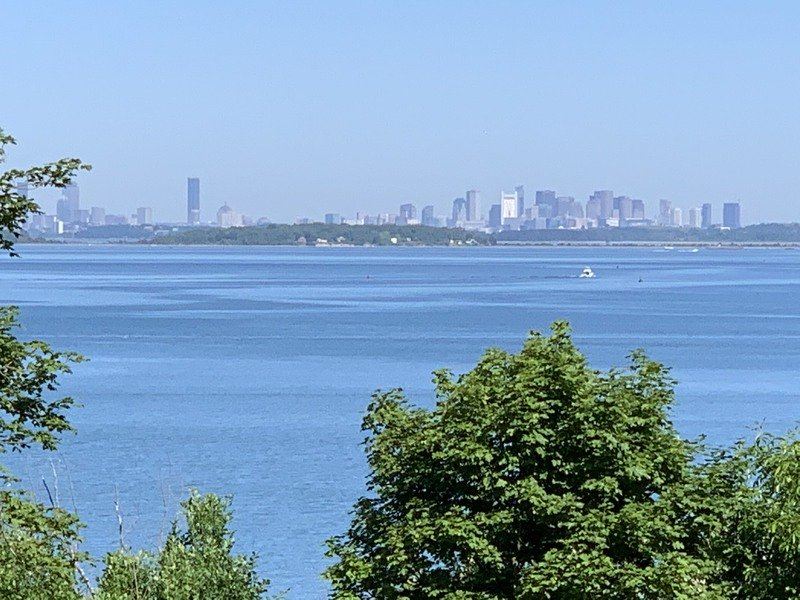 Views of Boston from the World's End Trail in Massachusetts.