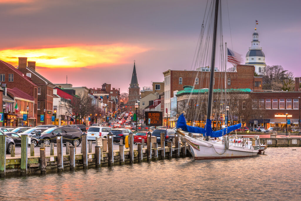 Views of downtown Annapolis from the harbor.