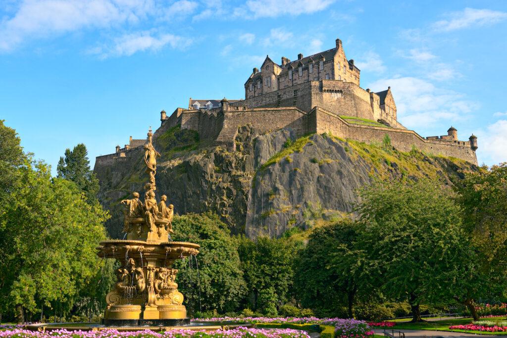 Views of Edinburgh Castle from below.