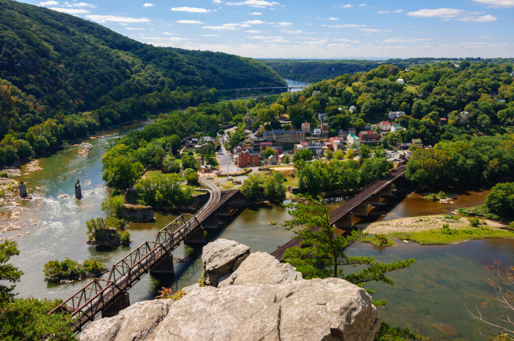 Views of Harpers Ferry from the Maryland Heights Overlook.