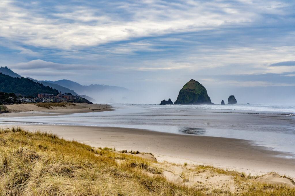 Views of Haystack Rock in Cannon Beach, Oregon.