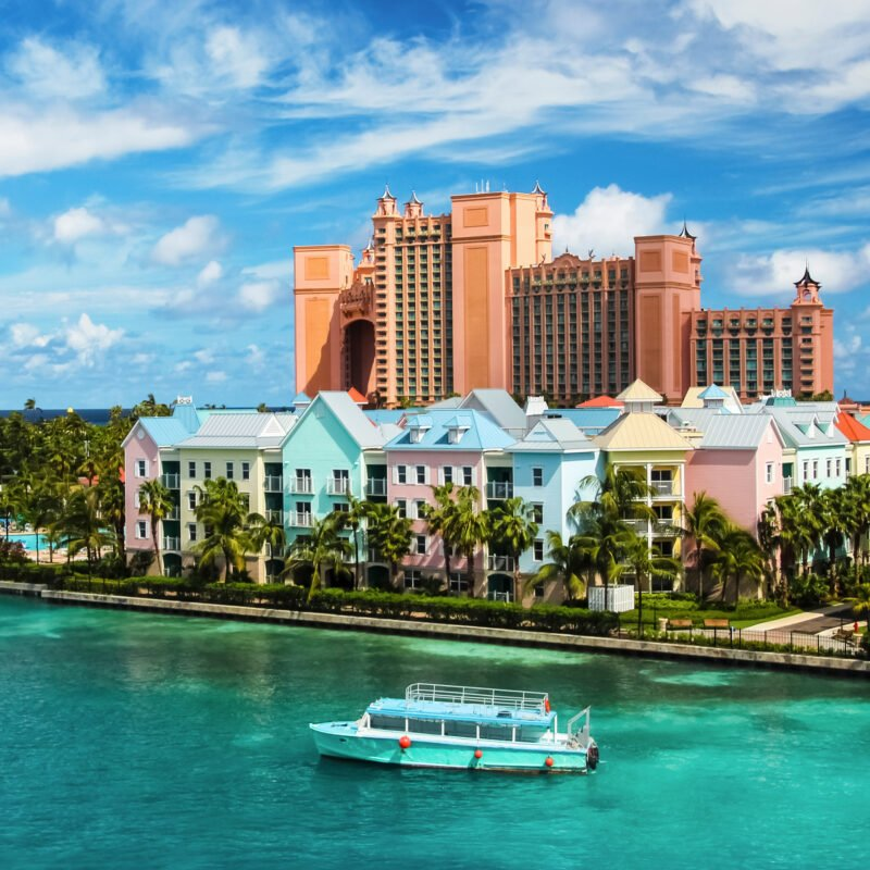 Views of hotels and houses in Nassau, Bahamas.
