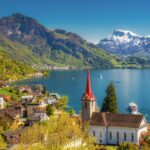 Views of Lake Lucerne from the village of Weggis in Switzerland.