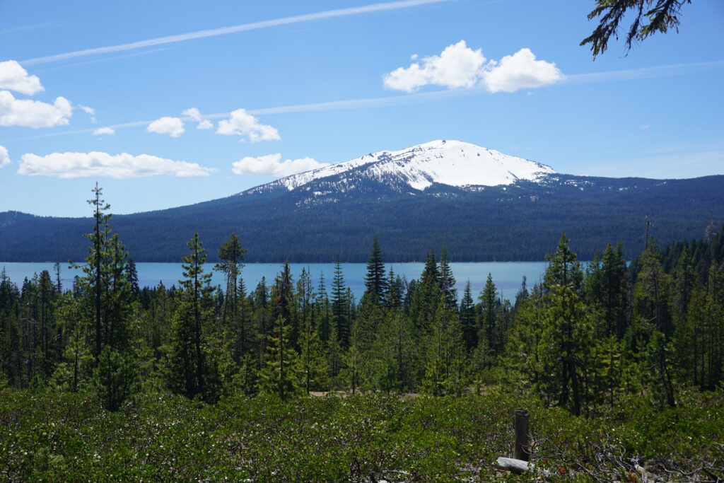 Views of Mount Bailey and Diamond Lake on the Diamond Lake Trail.