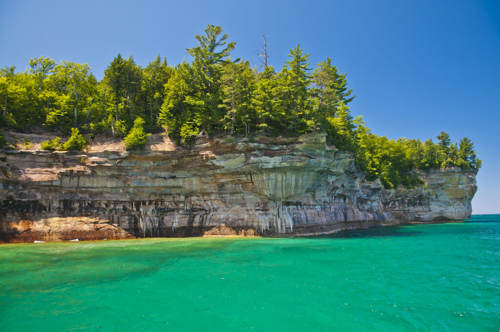 Views of Pictured Rocks National Lakeshore from the water.