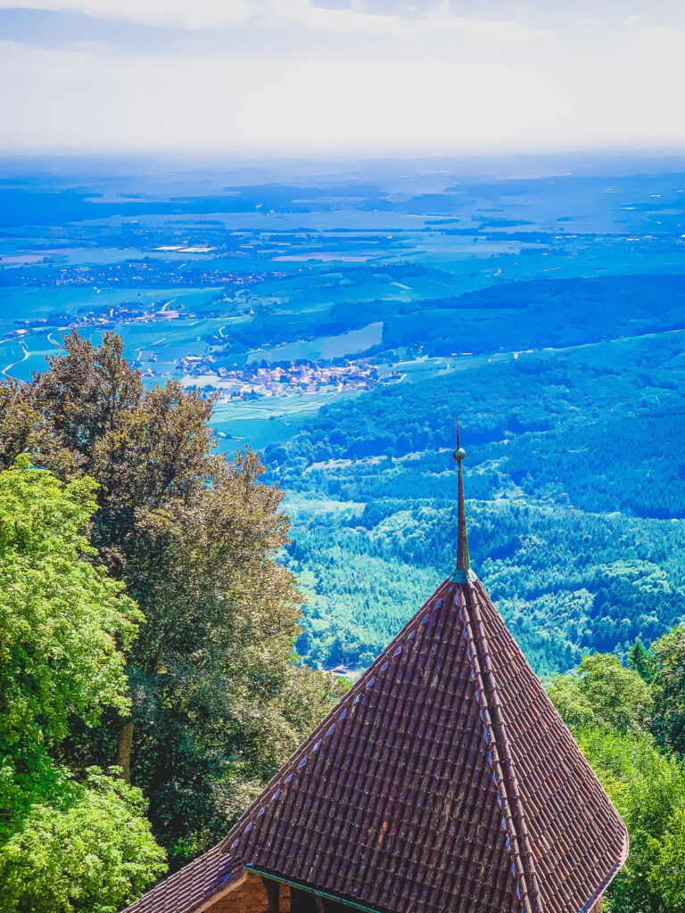 Views of the Alsace Plain from the Haut-Koenigsbourg guard tower.