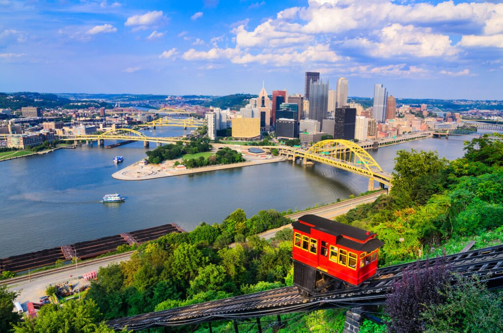 Views of the Duquesne Incline from Mt. Washington.