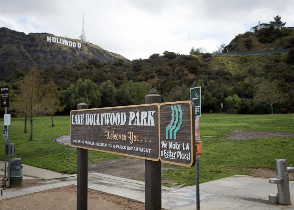 Views of the Hollywood sign from Lake Hollywood Park.