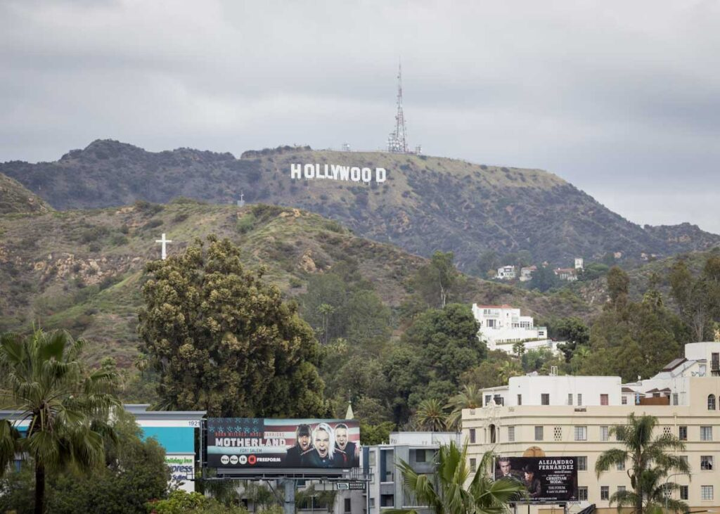 Views of the Hollywood sign from the entertainment district.
