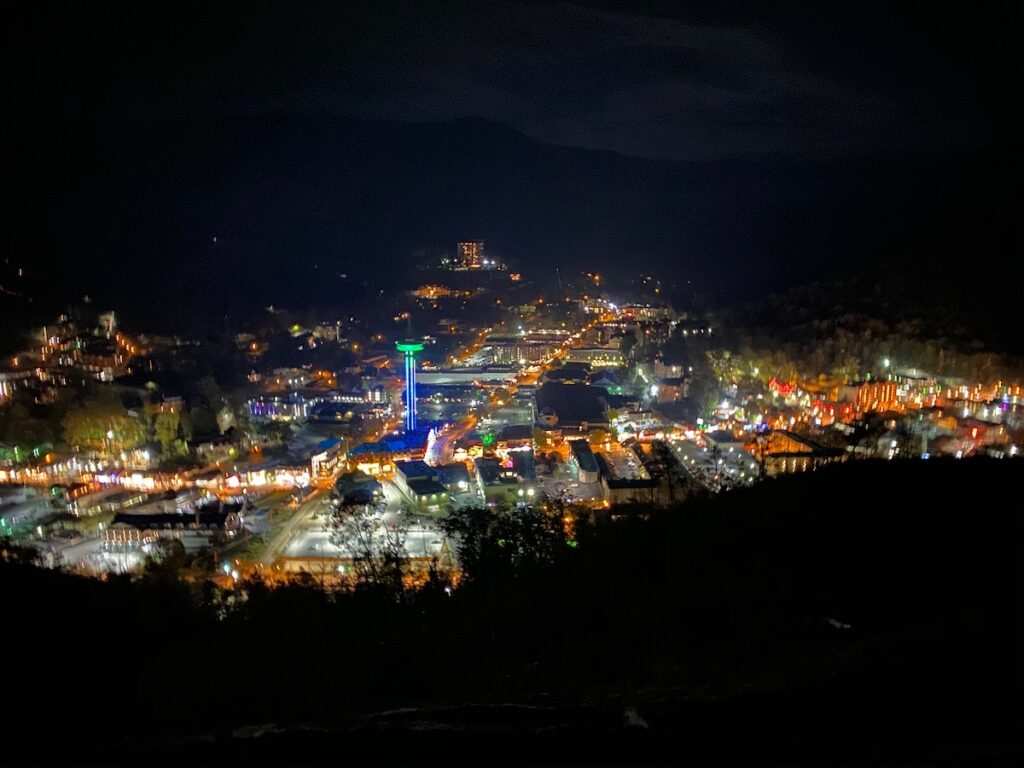 Views of the lights from the Gatlinburg SkyLift.