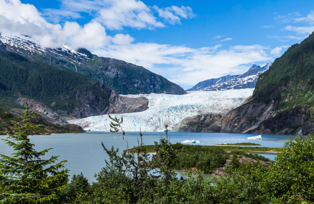 Views of the Mendenhall Glacier in Alaska.