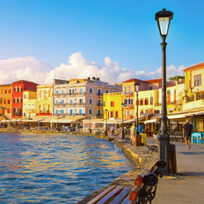 Views of the Old Port of Chania, Greece.