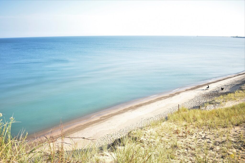 Views of the shore in Indiana Dunes National Park.