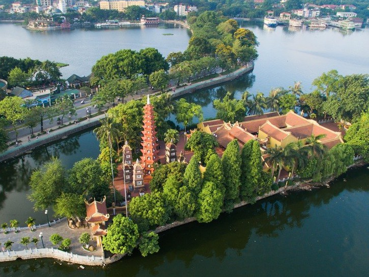 Views of the Tran Quoc Pogoda and the skyline of Hanoi, Vietnam.