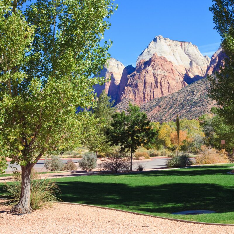 Views of the Zion Canyon peaks from downtown Springdale, Utah.