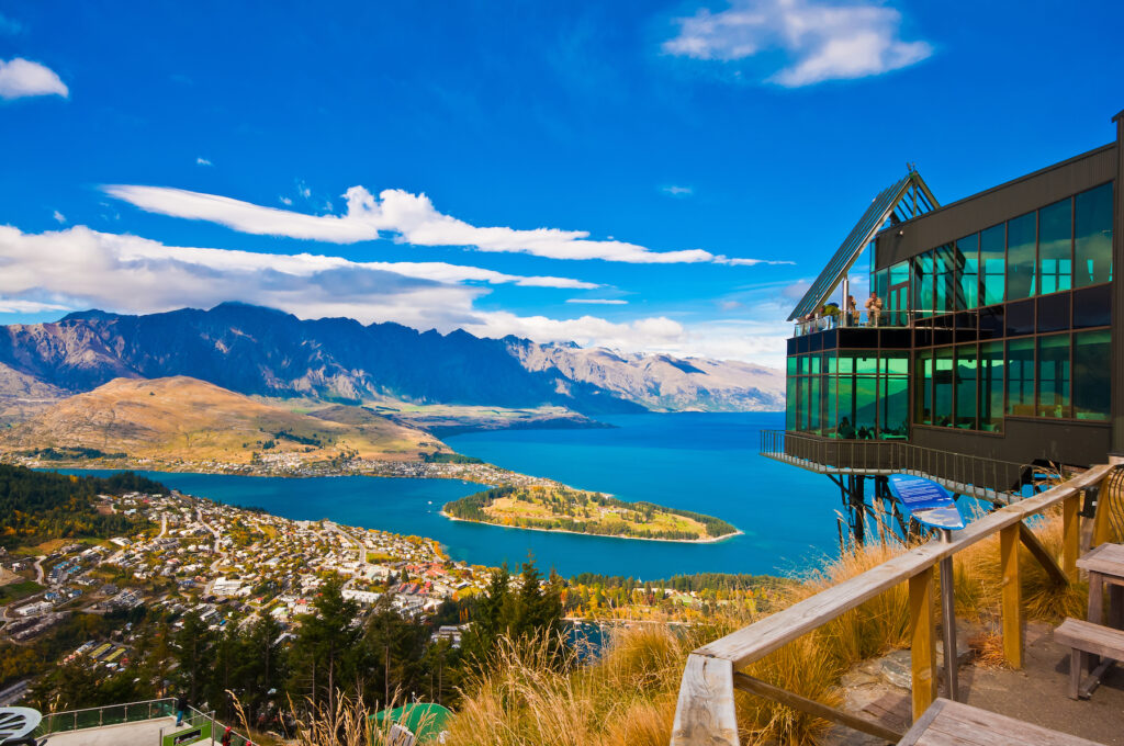 Views overlooking Queenstown, New Zealand.