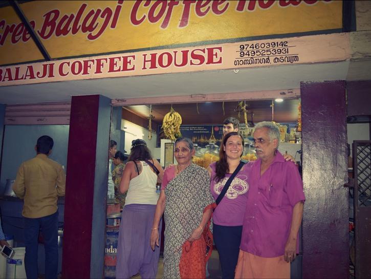 Vijayan and Mohana in front of their tea shop, Kochi India.