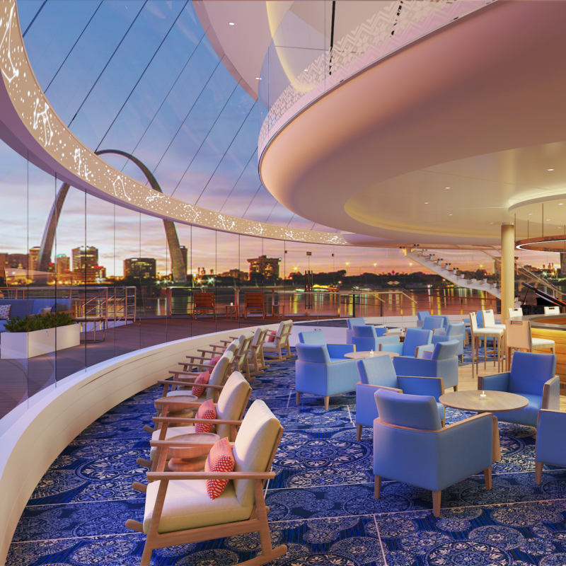 Viking Mississippi Explorer's Lounge, river cruise.