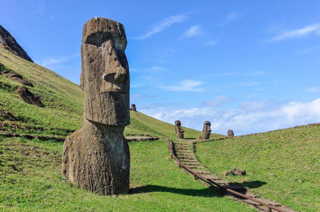 Visiting the Moai at Rapa Nui.