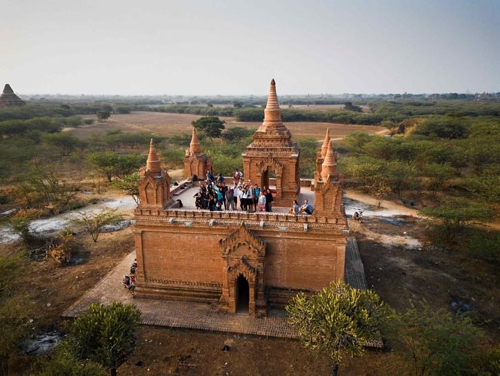 Visitors atop pagoda, Bagan, Myanmar