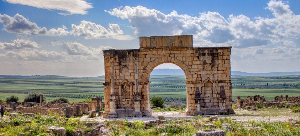 Volubilis Triumphal Arch in Morocco.