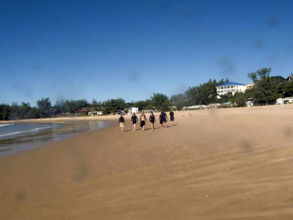 Volunteers walking on the beach in Tofo