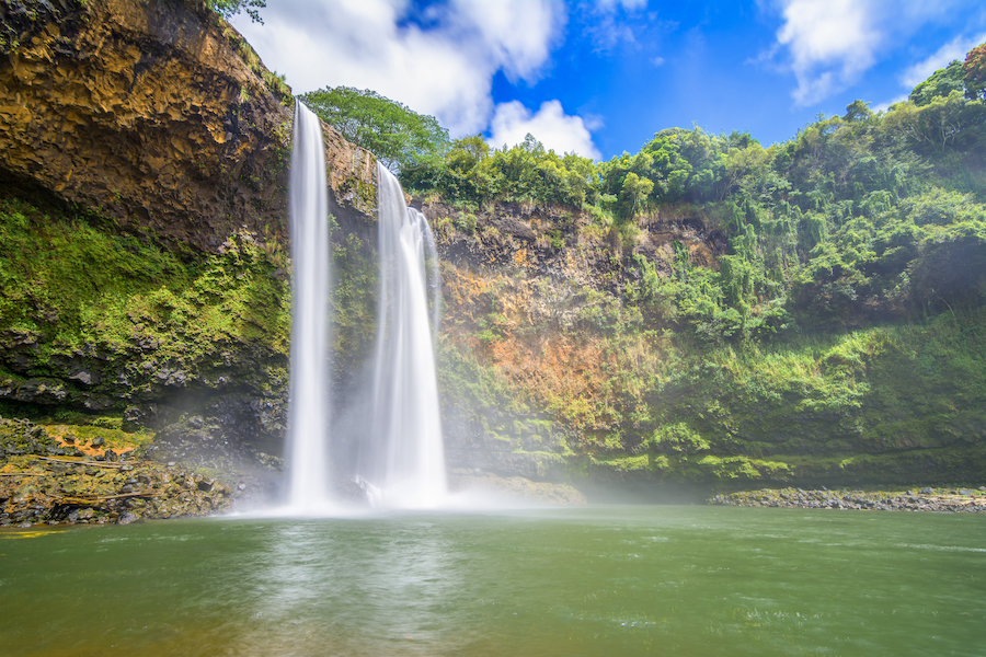 Wailua Falls on the island of Kauai, Hawaii.