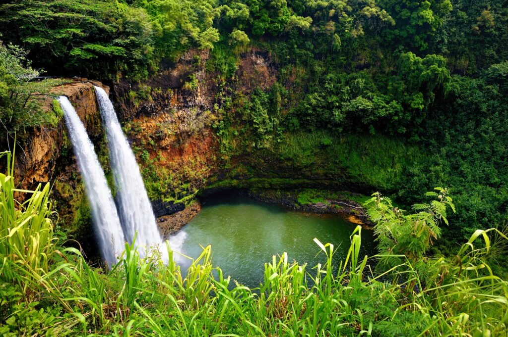 Wailua waterfalls in Kauai, Hawaii.