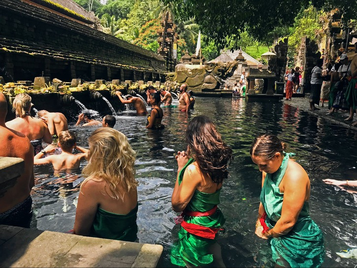 Waiting in line for the holy water ritual at Pura Tirta Empul, Bali