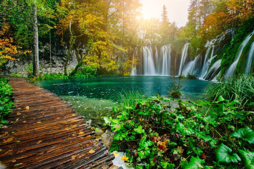 Walkway in Plitvice Lakes National Park.