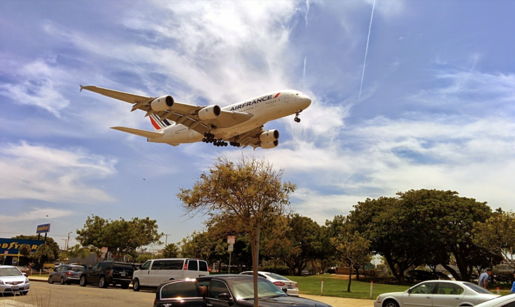 Watching a plane land from In-N-Out Burger in Los Angeles.