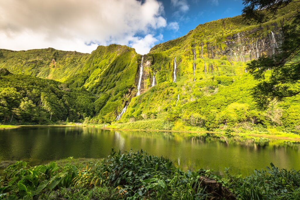 Waterfall on Flores Island in the Azores.