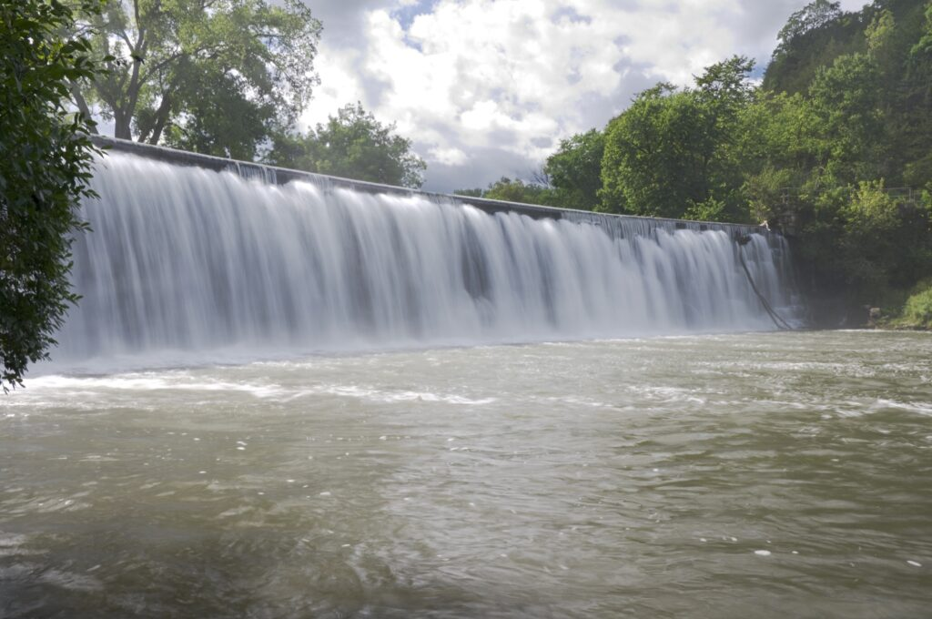 Waterfall on Root River in Lanesboro, Minnesota.