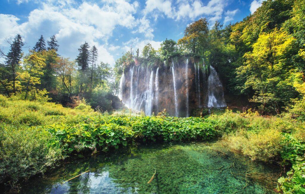 Waterfalls in Plitvice Lakes National Park.