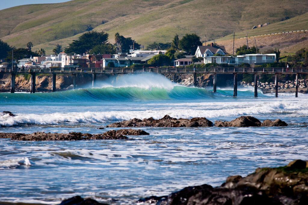 Waves along the shore of Cayucos, California.