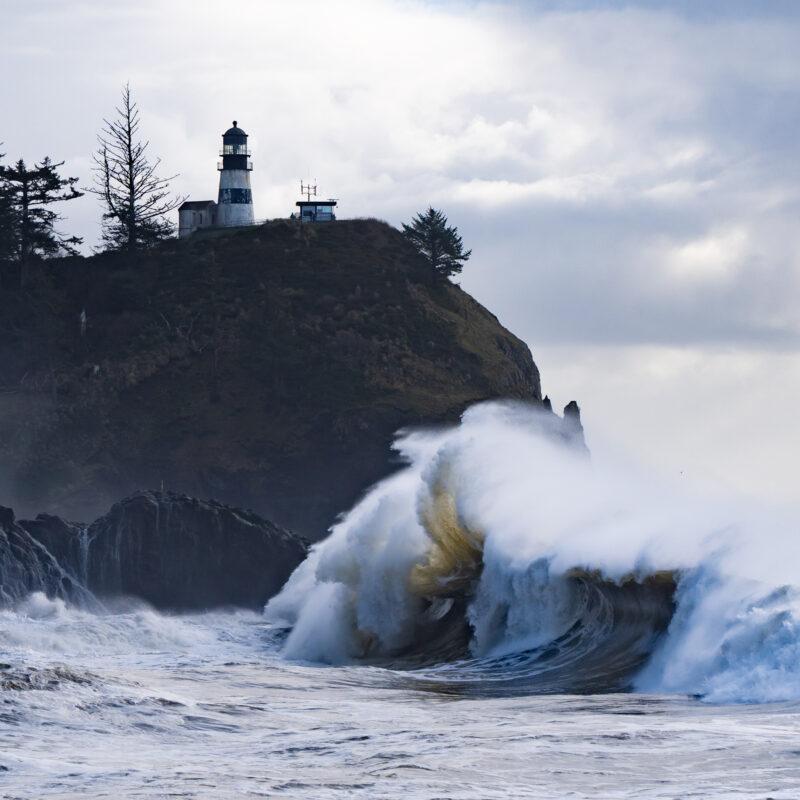 Waves crashing along the coast of Washington's Long Beach Peninsula.
