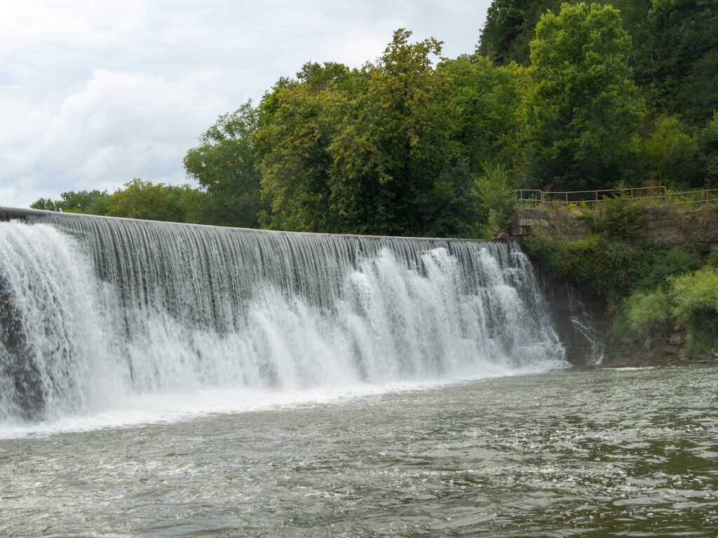 Weir waterfall on the Root River in Lanesboro, Minnesota.