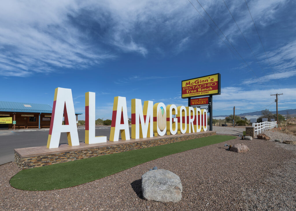 Welcome sign at the entrance to Alamogordo, New Mexico.