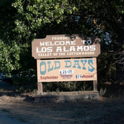 Welcome sign to Los Alamos, California.