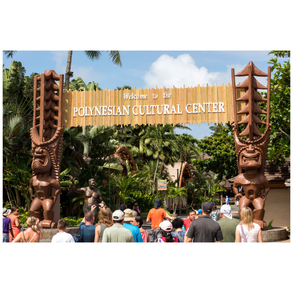 Welcome signage for the Polynesian Cultural Center