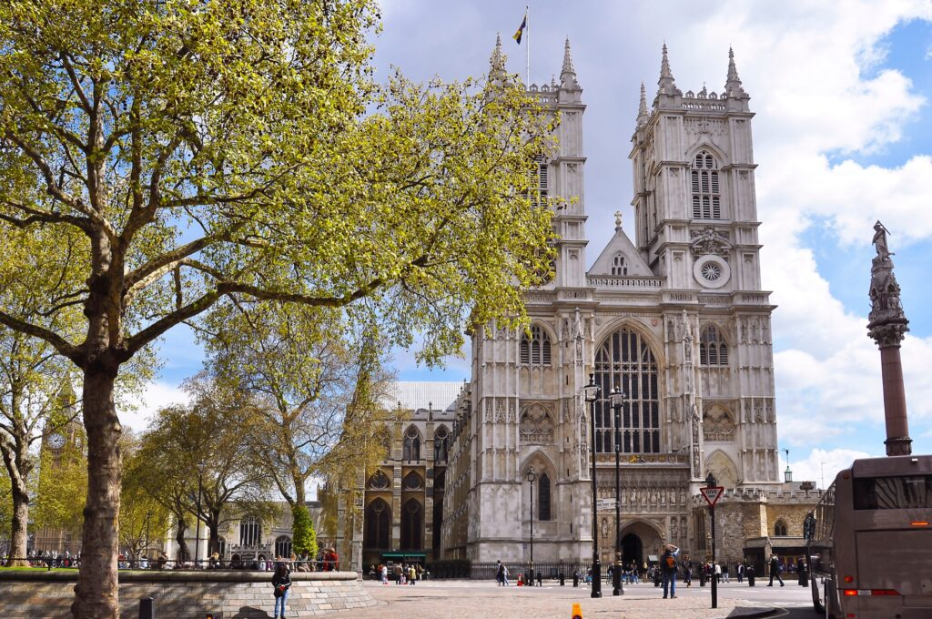 Westminster Abbey in downtown London.