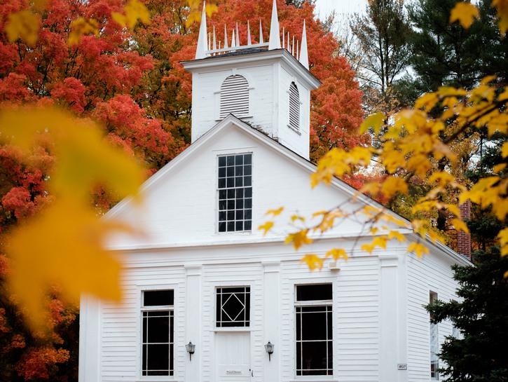 White church in the fall, Massachusetts