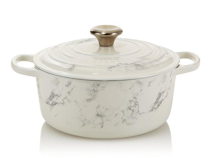 white marble Le Creuset dutch oven
