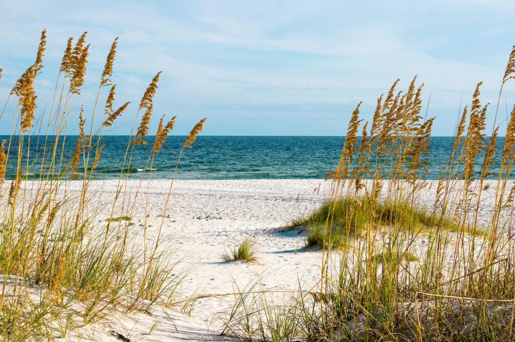 White sandy beaches in Gulf Shores, Alabama.
