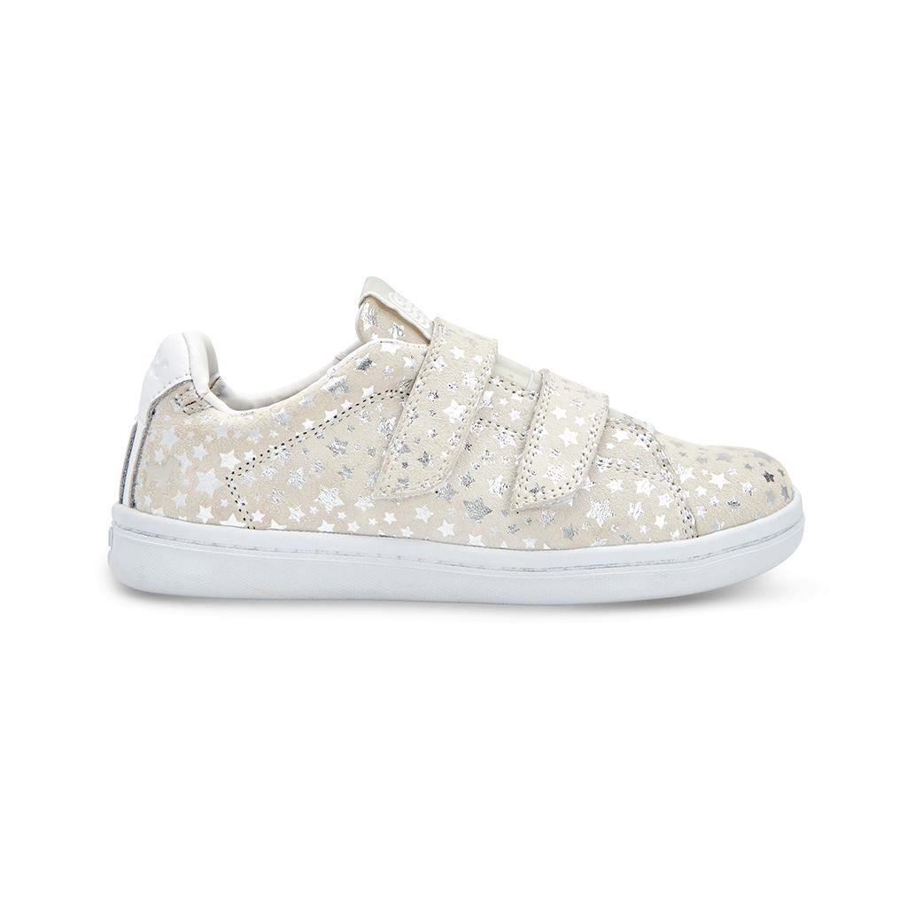 white sparkle GOATS kid sneakers