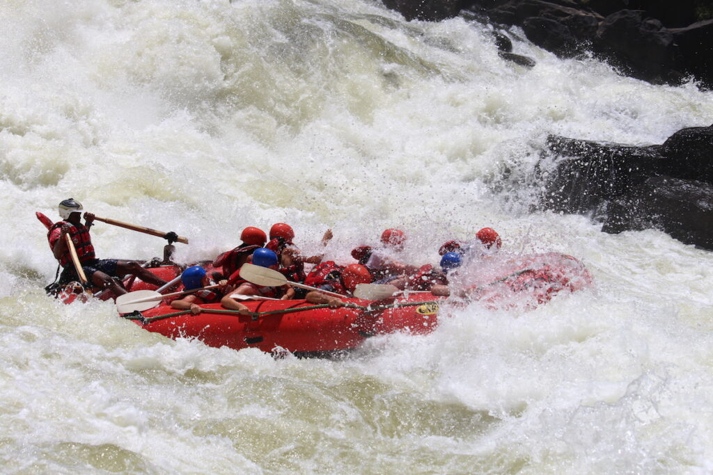 White water rafting at Victoria Falls.