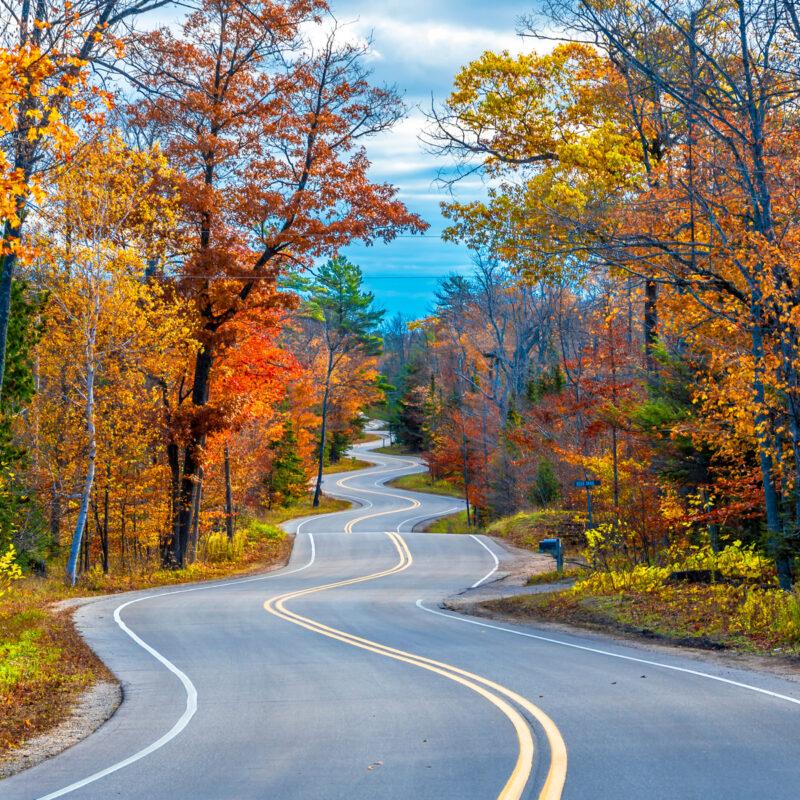 Winding Road at Autumn in Door County of Wisconsin.