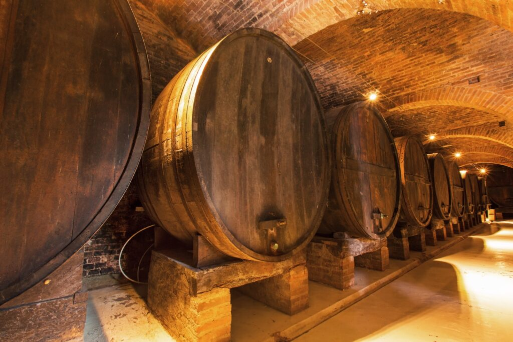 Wine barrels at a winery in Florence.