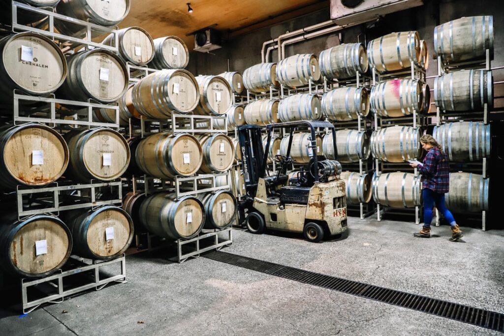 Wine barrels in the cellar of Chehalem Winery.