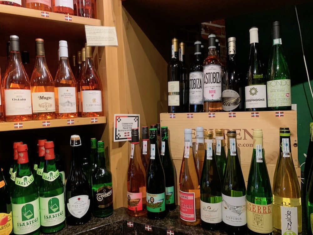 Wines for sale at the Basque Market.
